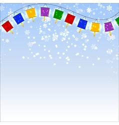 Winter blue background with snowflakes and garland vector image