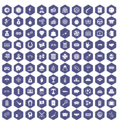 100 gambling icons hexagon purple vector