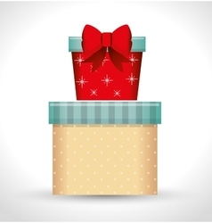 Big gift box and small gift red bow white vector
