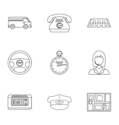 Taxi ride icons set outline style vector