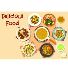 Spicy dishes for dinner menu icon design vector