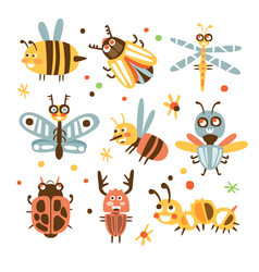 funky bugs and insects set of small animals with vector image