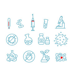 Set of icons medicine health drug chemistry and vector