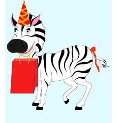 zebra with gift vector image