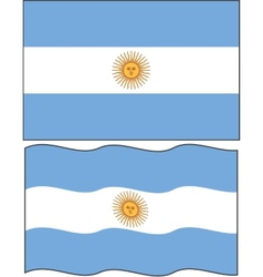 Flat and waving argentine flag vector