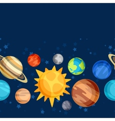 Cosmic seamless pattern with planets of the solar vector