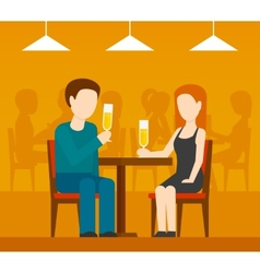 Date in restaurant vector