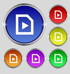 Play icon sign round symbol on bright colourful vector