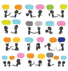 People conversation silhouette vector
