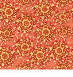 Beautiful pattern with flowers on an orange vector