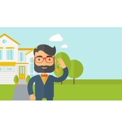 Man holding a key infront of the house vector