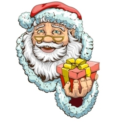 Santa claus holding box with gift vector