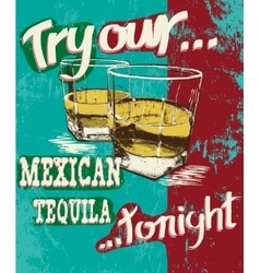 Vintage poster of two stemware with tequila vector