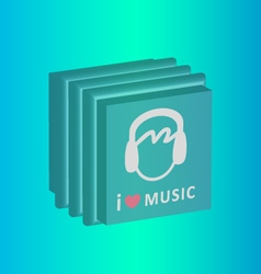 Music cd boxes i love music vector