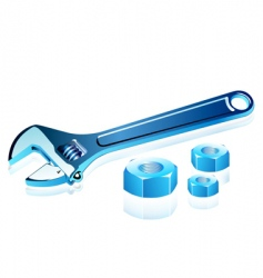 Adjustable spanner with screws vector
