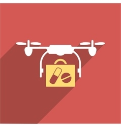 Medical drone shipment flat longshadow square icon vector