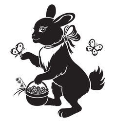 hare with basket vector image