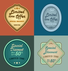 Set of retro vintage styled discount labels vector