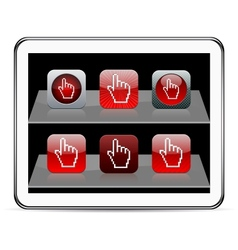 Pixel hand red app icons vector