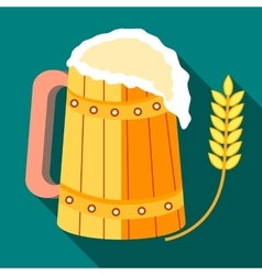 Wooden mug of beer and stalk of ripe barley icon vector