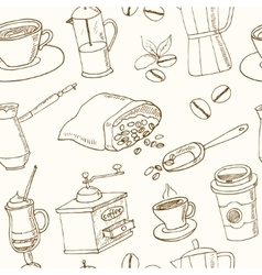 Hand drawn coffee seamless pattern with vector
