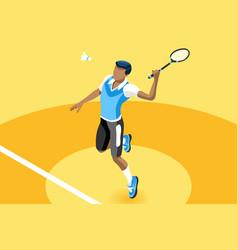 Background badminton boy vector