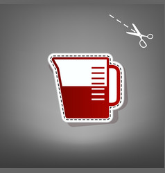 Beaker sign red icon with for applique vector