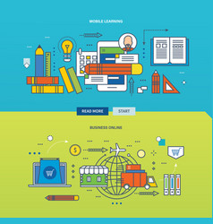 Business on the internet and mobile learning vector