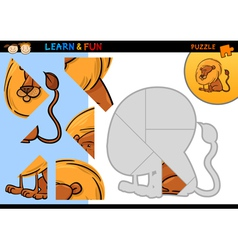 Cartoon lion puzzle game vector image