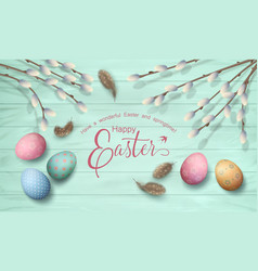 Easter top view background vector