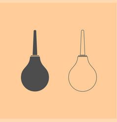 enema dark grey set icon vector image vector image