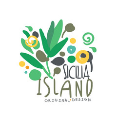 exotic sicilia island summer vacation travel logo vector image vector image