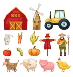 Farm Cartoon Elements Set vector image vector image