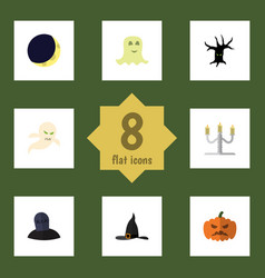Flat icon halloween set of spirit candlestick vector