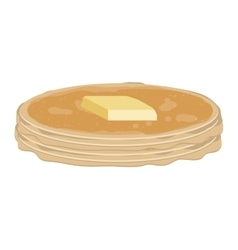 full color with stack pancake with butter vector image vector image