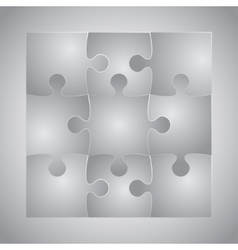 Grey puzzles piece jigsaw - 9 pieces vector