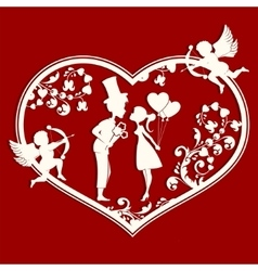 Heart with couple inside vector