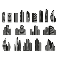 isolated black and white color skyscrapers in vector image vector image