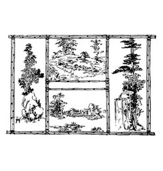 Japanese garden design japanese aesthetic and vector