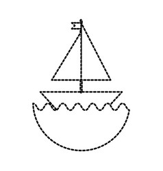 little sailing ship cartoon toy in water vector image