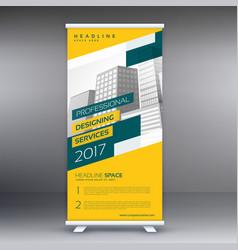 Modern yellow roll up standee banner template vector
