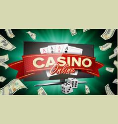 Online casino banner realistic computer vector