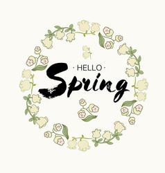 Phrase hello spring brush pen lettering isolated vector