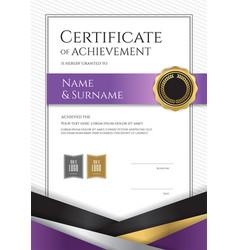 Portrait luxury certificate template with elegant vector