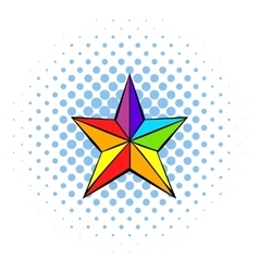 Rainbow star icon comics style vector image