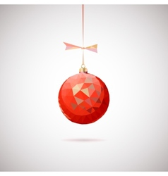Red Christmas ball with triangles vector image vector image