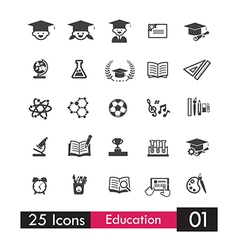 Set of 25 icons education and learning grey icon vector image