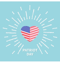 Shining heart flag star and strip patriot day flat vector