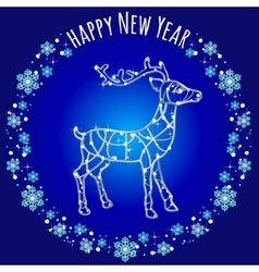 Silhouette reindeer of lights and text vector image