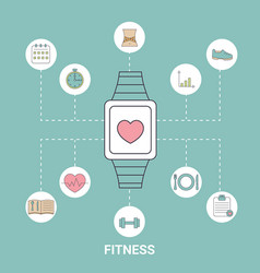 Smart watch with fitness icons smart watch with vector